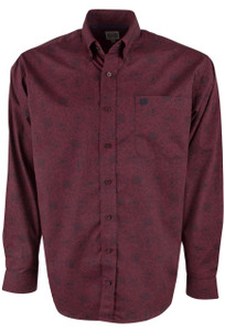 Cinch Burgundy Floral Paisley Print Shirt - Front