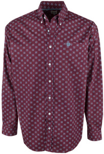 Cinch Burgundy, Teal and White Foulard Print Shirt - Front