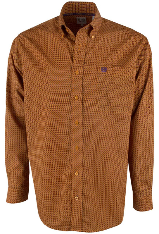 Cinch Orange Wicker Print Shirt - Front