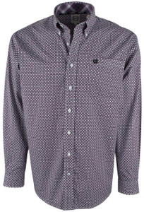Cinch White and Purple Foulard Print Shirt - Front