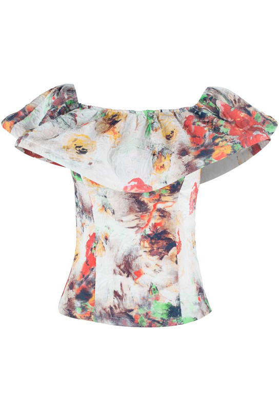 Alberto Makali Floral Print Ruffle Top - Front