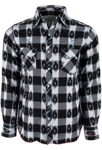 Ryan Michael Ikat Gingham Plaid Western Snap Shirt - Night - Front