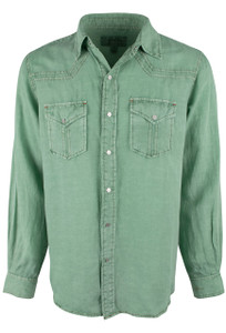 Ryan Michael Split Rail Solid Snap Shirt - Cactus - Front