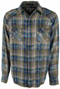 Ryan Michael Cactus Plaid Shirt - Indigo - Front