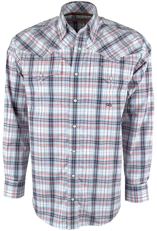 Miller ranch red and blue plaid snap shirt pinto ranch for Red white and blue plaid shirt