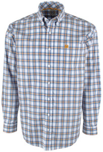 Cinch Blue and Gold Plaid Shirt - Front