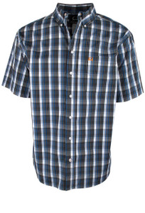Cinch ArenaFlex Black Plaid Short Sleeve Shirt - Front