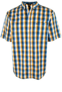 Cinch ArenaFlex Gold and Navy Short Sleeve Plaid Shirt - Front