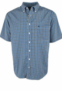 Cinch ArenaFlex Blue and White Check Print Short Sleeve Shirt