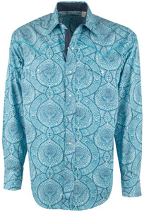 Stetson Blue Pint Medallion Print Snap Shirt - Front