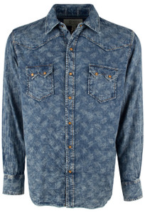 Ryan Michael Vintage Dot Double Face Snap Shirt - Ocean - Front
