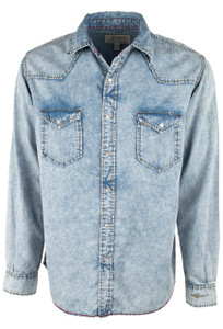 Ryan Michael Sun Washed Snap Shirt - Indigo - Front