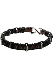 Kenton Michael Sterling Chain Link Segments with Braided Overlay Bracelet - Brown