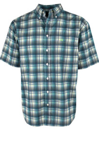 Cinch ArenaFlex Blue and Green Short Sleeve Shirt