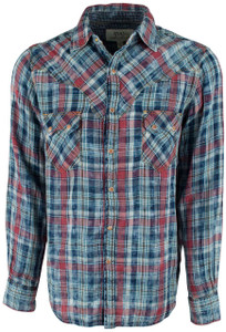 Ryan Michael Double Face Plaid Saw Tooth Pocket Snap Shirt - Indigo  - Front