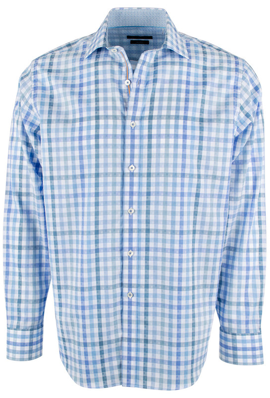 Bugatchi Sky Classic Check Shirt - Front