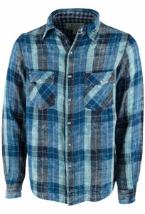 Ryan Michael Lake Travis Plaid Snap Shirt - Indigo - Front