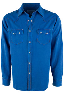 Ryan Michael Sawtooth Silk Linen Snap Shirt - Bluebird - Front