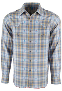 Ryan Michael Ombre Dobby Plaid Snap Shirt - Blue Corn - Front