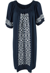 Mystree Navy Embroidered Peasant Dress -Front