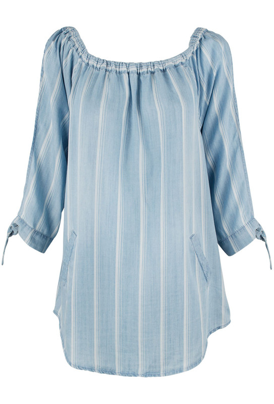 Billy T Open Sleeve Denim and White Stripe Top - Front