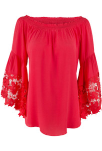Muche et Muchette Red Venus Flower Lace Top -Front