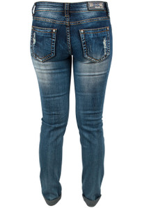 Grace in L.A. Junior Distress Straight Leg Skinny Jeans Back