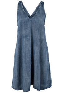 Laju Dark Wash Denim Straps Dress Front