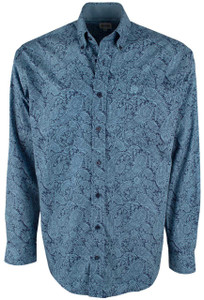 Cinch Blue Paisley Print Shirt - Front