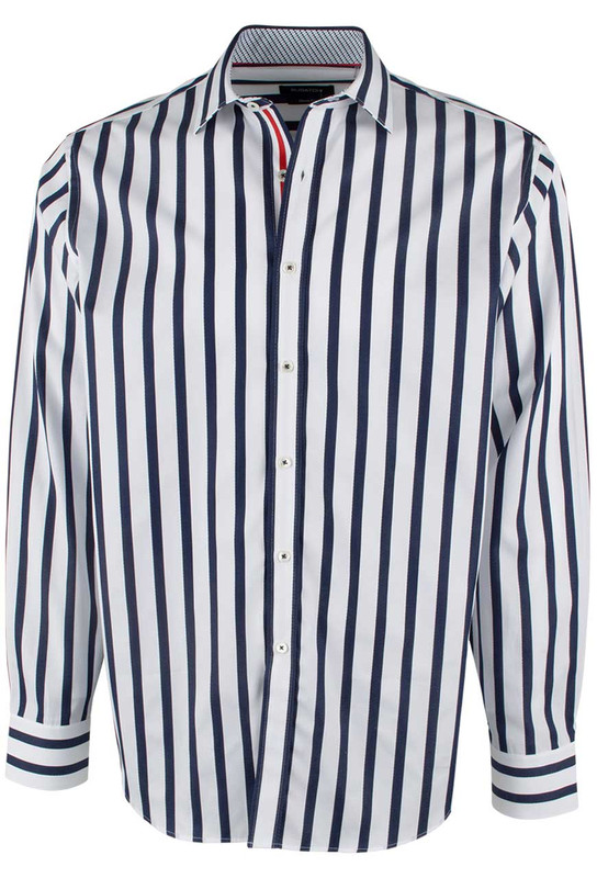 Bugatchi Navy and White Bold Stripe Shirt - Front