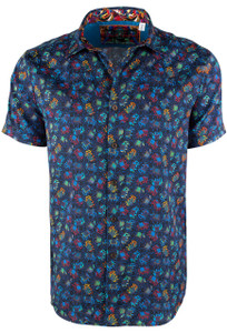 Robert Graham Short Sleeve Elephant Navy Shirt Front