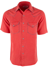 Ryan Michael Short Sleeve Whipstitch Silk Linen Snap Shirt - Tomato