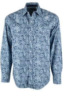 Stetson Blue Kahlo's Paisley Print Snap Shirt - Front