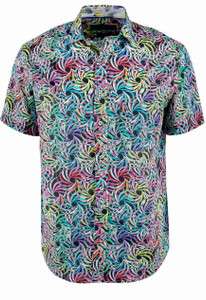 David Smith Australia Short Sleeve Tropical Leaf Print Shirt - Front