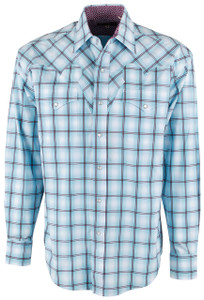 Stetson Blue Windowpane Plaid Snap Shirt - Front