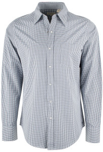 Stetson Blue Dobby Check Snap Shirt - Front