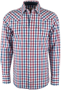 Stetson Red, White and Blue Ombre Check Snap Shirt - Front