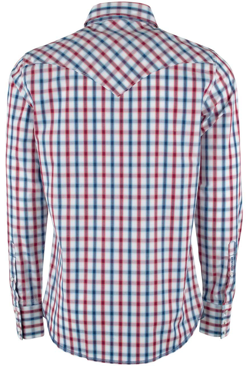 stetson red, white and blue ombre check snap shirt - pinto ranch