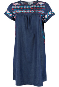 Ivy Jane Embroidered Indigo Dress - Front