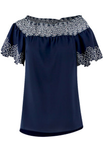 Alberto Makali Navy with White Stitching Peasant Top - Front