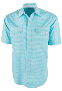 Stetson Short Sleeve Blue Lava Lamps Print Snap Shirt - Front