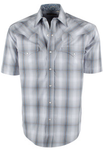 Stetson Short Sleeve Gray Sterling Ombre Plaid Snap Shirt - Front