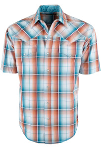 Stetson Short Sleeve Orange Desert Ombre Plaid Snap Shirt - Front