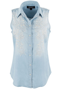 Grace in L.A. Sleeveless Tencel Embroidered Snap Shirt - Front