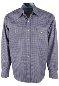 Stetson Purple Check Geo Print Snap Shirt - Front