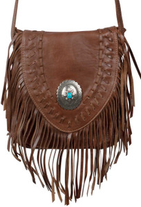 American West Seminole Fringe Crossbody - Chocolate - Thumb