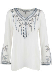 Monoreno Long Sleeve Embroidered V-Neck Top - Front