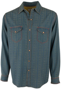 Ryan Michael Beacon Blanket Jacquard Snap Shirt - Indigo - Front