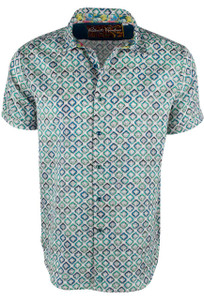 Robert Graham Short Sleeve Cholas Blue Shirt - Front