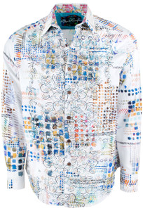 Robert Graham Terri All Over Print White Sport Shirt - Front